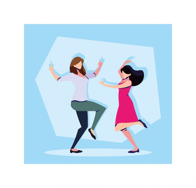 Scene of women in dance pose, party, dance club