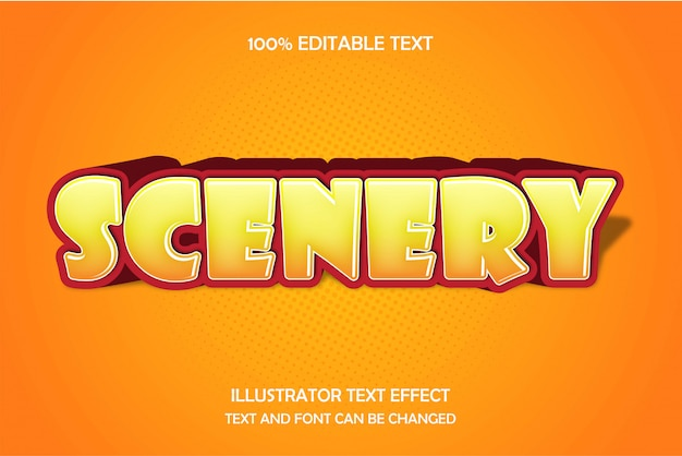 Scenery,3d editable text effect modern comic shadow style
