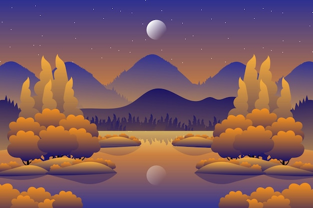 Scenery autumn forest with starry night sky illustration