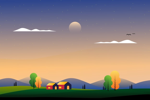 Scenery beautiful country side with mountain and sky illustration