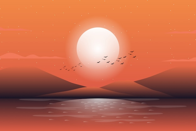 Декорации красивый вечер закат небо и море фон Premium векторы