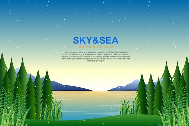 Пейзаж голубое небо и море в вечерней иллюстрации