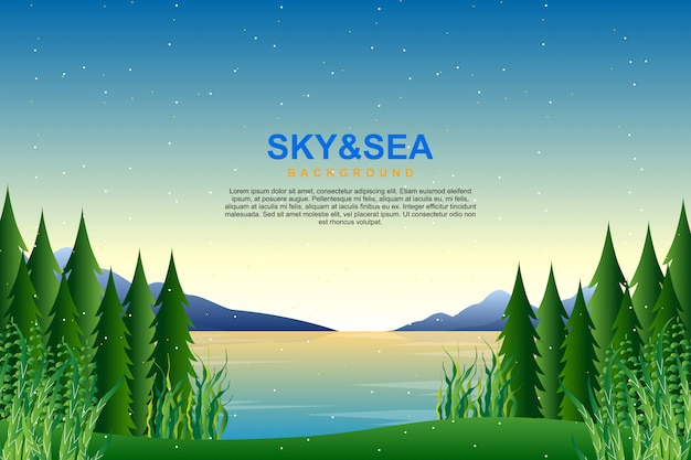 Scenery blue sky and sea in evening illustration