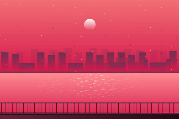 Scenery cityscape with sea landscape and starry night