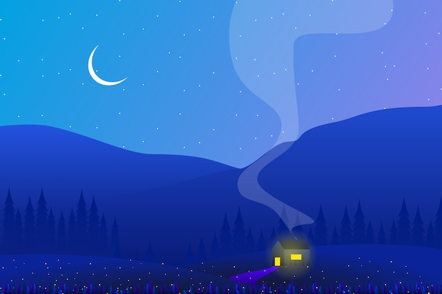 Scenery country side with pine forest and sky night