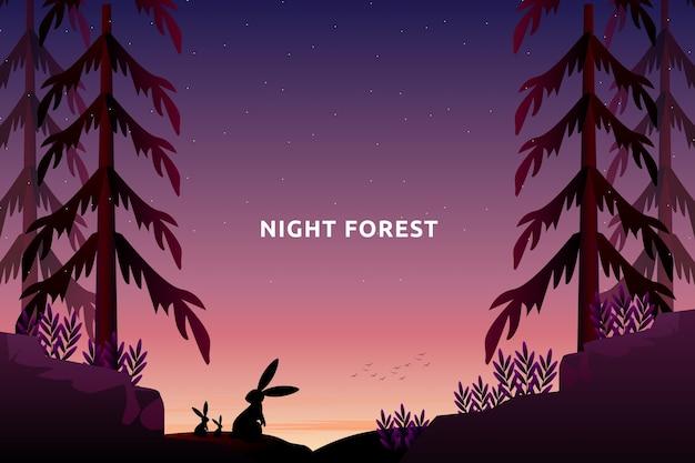 Пейзаж фэнтезийный лес с горным звездным ночным небом в пейзаже соснового леса