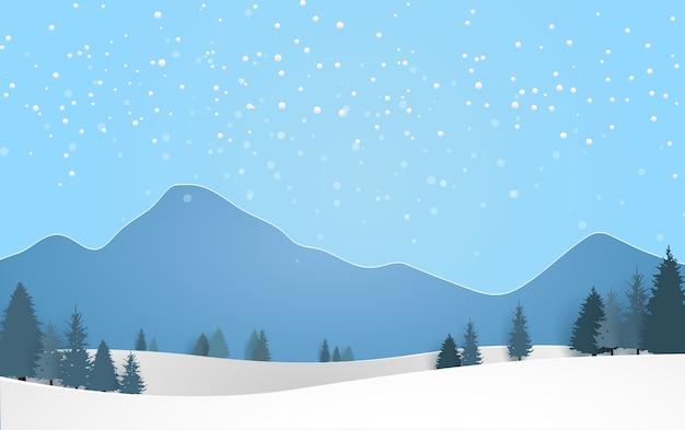 겨울 풍경. 눈과 아름다운 소나무 배경