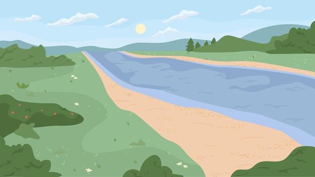 Пейзаж пейзаж берега реки зеленые деревья трава и кусты лес или парк природа вектор живописный
