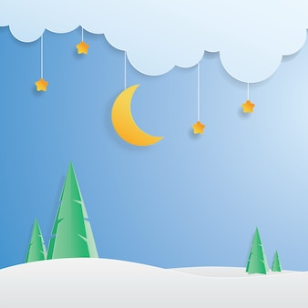 Scenery moon, star and winter landscape, paper art, paper cut,