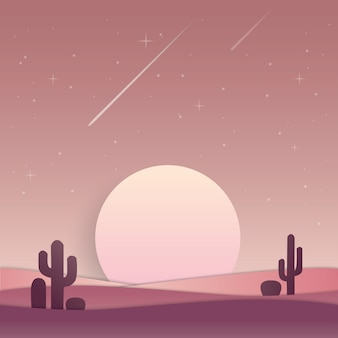 Scenery moon or sun, sunset or sunrise in desert landscape