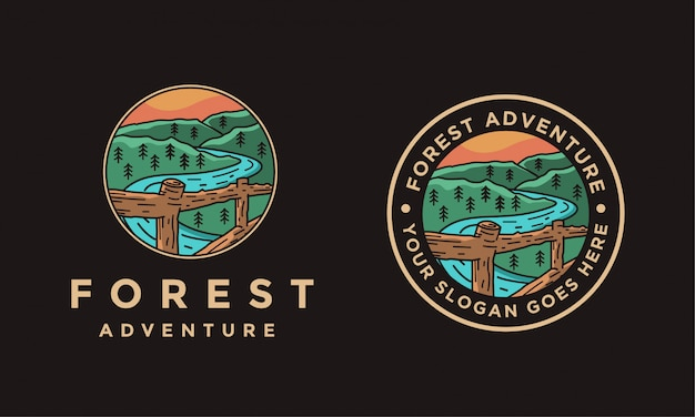 Scenery nature forest outdoor landscape logo illustration on black background