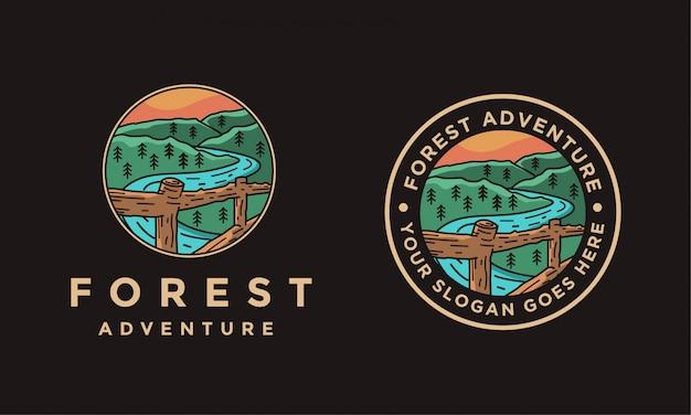 黒い背景に風景自然林屋外風景ロゴイラスト