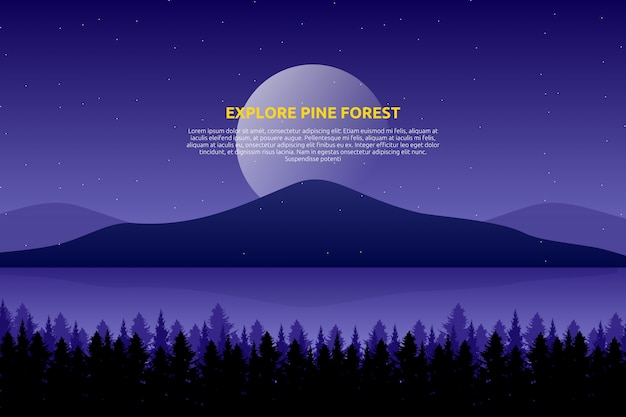 Scenery purple sky and sea with starry night and pine tree wood on mountain