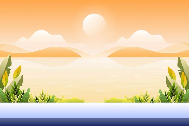 Scenery sunset with sea view , sea view landscape illustration