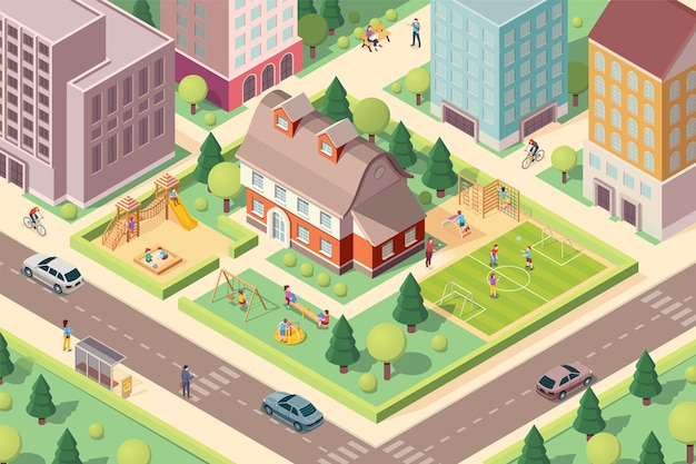 Scenery view on kindergarten with playground isometric school at city or town block schoolyard with