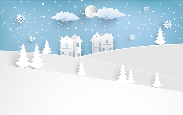 Scenery in the winter with homes and snowy hills