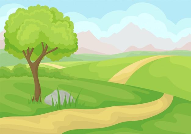 木、地上道路、緑の牧草地、山、青い空のある風景。