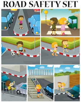 Scenes of children and road safety illustration