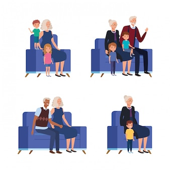 Scenes of grandparents with grandchildren seated in sofa
