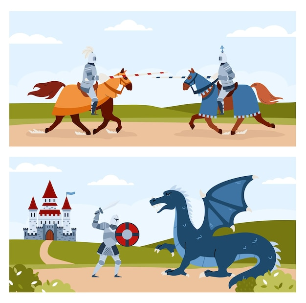 Scenes of knights tournament and fight with dragon flat vector illustration