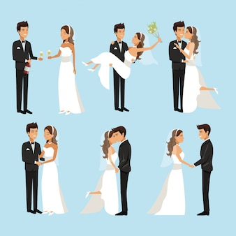 Scenes of newly married couple in different standing