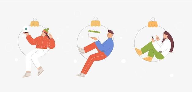 Сцены женщины и мужчины, сидящие в елочном шаре