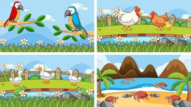 Сцены животных в дикой иллюстрации