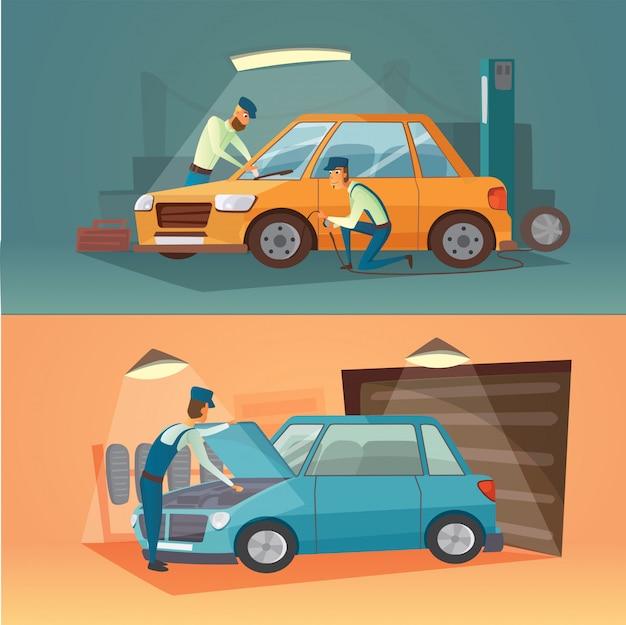 車の修理のベクトルイラストのシーン。漫画のガレージ。