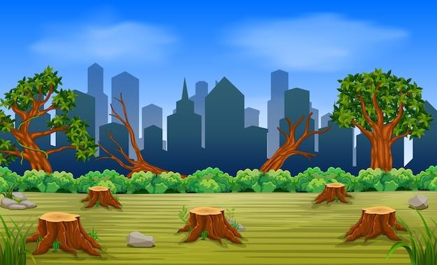삼림 벌채 및 건물 장면