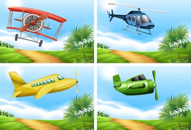 空に飛行機がある場面