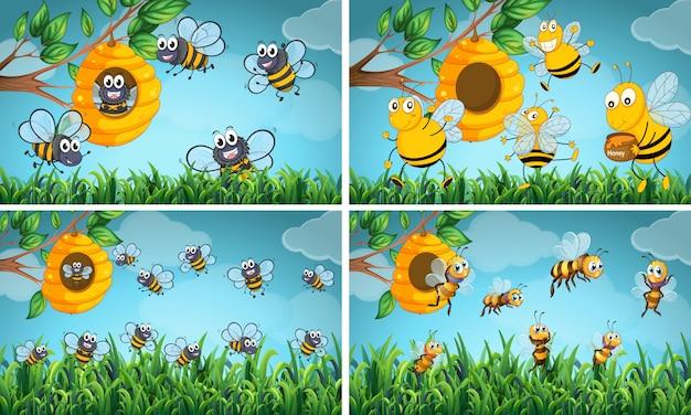 꿀벌과 벌집이있는 장면