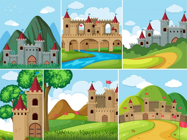 Scenes with castle towers in the mountains