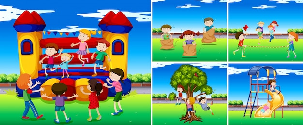 Scenes with children in the playground