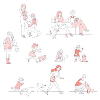 Сцены с владельцами домашних животных. люди, идущие, играя, заботясь о животных иллюстрации шаржа.