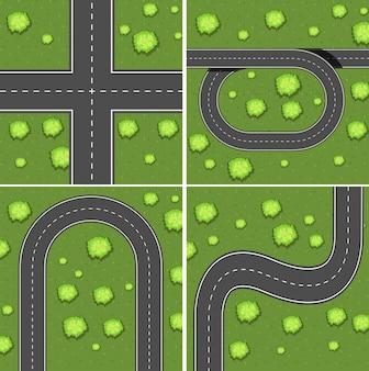 Сцены с дорогами на траве Бесплатные векторы