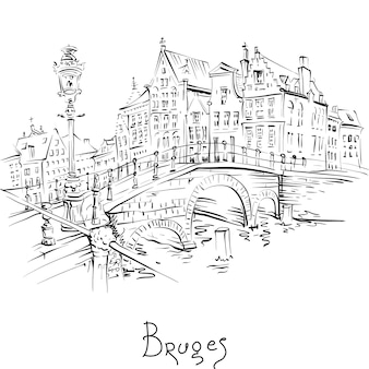 Scenic black and white city sketch, view of bruges canal and bridge with beautiful medieval houses, belgium