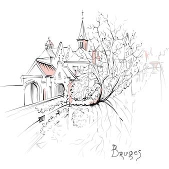 Живописный эскиз города, вид на канал брюгге с красивыми средневековыми домами и церковью, бельгия