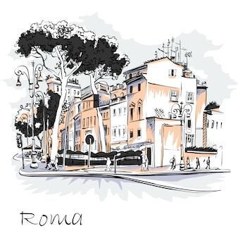 Живописный вид на город рим, италия