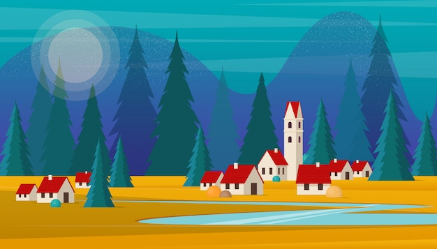 Scenic landscape of small village against a forest and mountains.   illustration