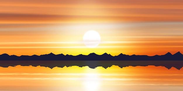 호수에서 일몰 하늘의 경치가 반영