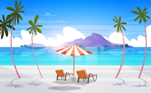 Scenic tropical beach view summer seaside landscape exotic paradise