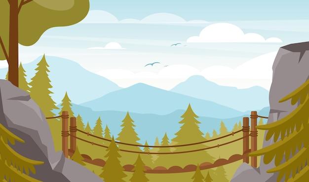 風光明媚な谷のフラットイラスト。美しい山の風景、モミの木のある森の谷