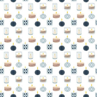 Scented burning candles seamless pattern.  vector illustration