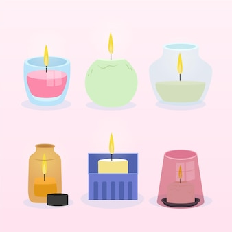 Scented candle collection flat design