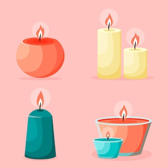 Scented candle collection with details