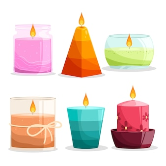 Scented candle set with details