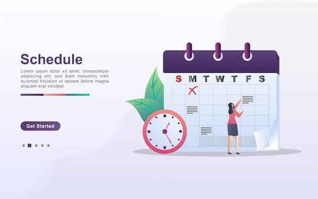График и концепция планирования, создание личного плана обучения, планирование рабочего времени, события и новости, напоминание и график. можно использовать для веб-целевой страницы, баннера, мобильного приложения. плоский дизайн