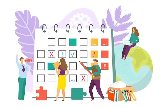 Schedule calendar for business concept vector illustration flat people character plan time agenda de...