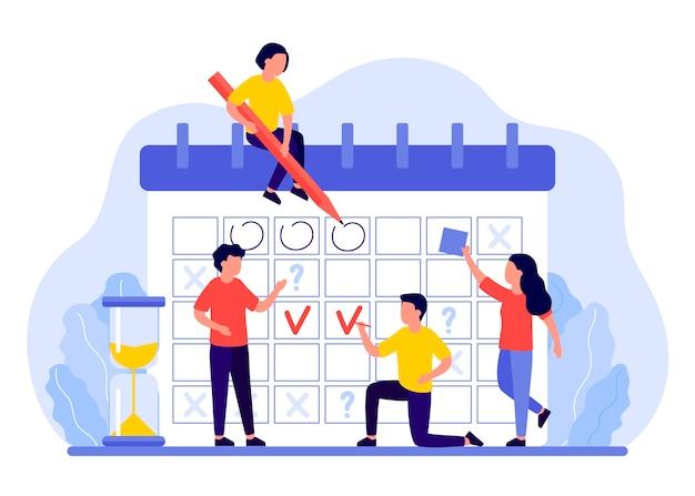 スケジュール、カレンダー、プランナーのコンセプト。人々のグループは、計画、マークの日付、締め切りを計画します。ビジネスチームがワークフローを整理します。