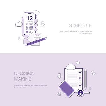 Schedule and decision making concept template web banner with copy space